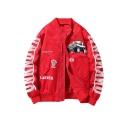 Mens New Arrival Popular Letter LANDER Car Print Zip Closure Long Sleeve Stand Sleeve Bomber Jacket