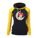 Sailor Moon Comic Girl Printed Color Block Long Sleeve Relaxed Drawstring Hoodie