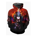 New Fashion Cool Fire Clown 3D Printed Long Sleeve Red Loose Pullover Hoodie