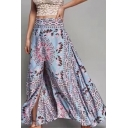 Vintage Tribal Floral Printed Drawstring Waist Maxi Holiday Beach Blue Split Skirt