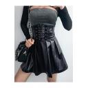 New Stylish High-Rise Lace-Up Waist Zip Back Studded PU Black Plain Flared Mini Skirt