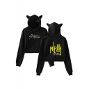 Fashion Kpop Boy Band Letter Printed Cat Ear Long Sleeve Crop Hoodie
