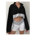 New Fashion Black Zippered Stand Collar Long Sleeve Color Block Loose Cropped Sweatshirt
