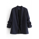 White Pinstripe Open Front Casual Navy Blazer for Women