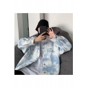 Unique Design Blue Sky Print Chest Pockets Overloose Tie Dye Denim Jacket Coat