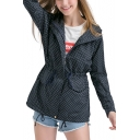 Women Trendy Drawstring Waist Polka Dot Hidden-Zip Placket Hooded Trench Coat