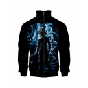 Hot Fashion Comic Figure Printed Rib Stand Collar Long Sleeve Zip Placket Black Baseball Jacket