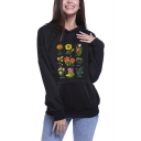 Hot Popular Flower Printed Long Sleeve Black Pullover Hoodie With Pocket