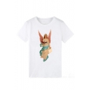 Summer Unique Angel Figure Printed Round Neck Short Sleeve White Tee