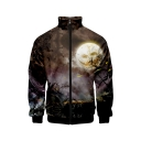 Men Fashionable Halloween Pattern Stand Collar Long Sleeve Zip Up Baseball Jacket