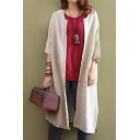 Women Popular Round Neck Half Sleeve Split-Side Loose Linen Longline Coat