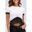 Women's Hot Fashion Colorblock Print Short Sleeve Lace Patched Relaxed T-Shirt