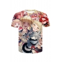 Summer Fashion 3D Comic Anime Character Printed Short Sleeve Round Neck T-Shirt