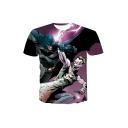 Mens New Trendy 3D Comic Figure Printed Round Neck Short Sleeve Purple T-Shirt
