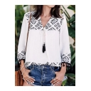Women's New Style Geometric Printed V-Neck Long Sleeve Linen Blouse Top