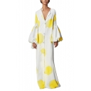 Women's Hot Fashion V-Neck Long Sleeve Printed Button-Front Loose A Casual Maxi Shift Yellow Dress