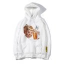 Unisex New Fashion Lovely Boy Beer Printed Drawstring Hooded Long Sleeve Casual Hoodie