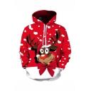 Christmas New Trendy Cute Moose 3D Printed Long Sleeve Unisex Red Drawstring Hoodie