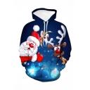 Christmas Cute Moose Santa Claus 3D Printed Long Sleeve Loose Fit Navy Drawstring Pullover Hoodie