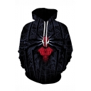3D Printed Drawstring Hooded Long Sleeve Black Loose Pullover Hoodie