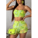 Womens Cool Ombre Print Strapless Crop Bandeau Top with Skinny Fit Distressed Shorts Tie Dye Two-Piece Set