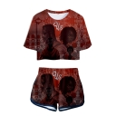 US Thriller Film Figure Printed Short Sleeve Crop Tee with Sport Dolphin Shorts Two-Piece Co-ords