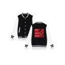 New Fashion Mulan Dragon Letter Print Stand Collar Long Sleeve Button Baseball Jacket