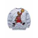 Popular Fashion Cartoon Basketball Printed Long Sleeve Round Neck Gray Pullover Sweatshirts