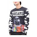 Trendy Letter Character Cloud Printed Black Long Sleeve Round Neck Pullover Sweatshirts