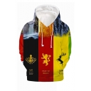 Hot Popular Colorblock Animal Mountain 3D Printed Long Sleeve Multicolor Loose Pullover Hoodie