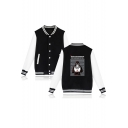 Hot Stylish Comic Letter Printed Stand Collar Long Sleeve Single Breasted Baseball Jacket