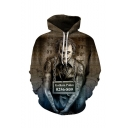 Hot Popular Joker 3D Printed Long Sleeve Brown Loose Fit Unisex Pullover Hoodie