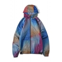 Mens Hot Popular Colorblock Printed Long Sleeve Zip Up Loose Hooded Trench Jacket