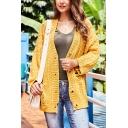 Womens Yellow Plain Long Sleeve Open-Knit Shredded Button Open Front Cardigan