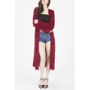 Womens Chic Plain Long Sleeve Fitted Open Front Fluffy Knit Maxi Cardigan