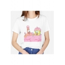 New Arrival Funny Cartoon Print Round Neck Short Sleeve White T-Shirt for Girls