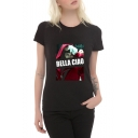 Summer Trendy Figure Letter BELLA CIAO Pattern Round Neck Short Sleeve Graphic Tee