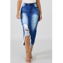 Women's Sexy Washed Denim Frayed Knee-Length Bodycon Jean Skirt