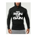 Mens Popular Fashion Letter NO PAIN NO GAIN Printed Long Sleeve Slim Fit Sports Hoodie