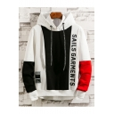New Fashion Colorblock Letter SALES GARMENTS Printed Long Sleeve Casual Loose Drawstring Hoodie