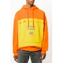 Unisex Designer Fashion Colorblock Patched Letter THE POWER OF DREAMS Printed Long Sleeve Orange Drawstring Hoodie