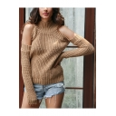 Ladies Chic Plain Mock Neck Ribbed Knit Cold Shoulder Long Sleeve Sweater