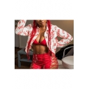 Red Letter Printed Lapel Collar Single Breasted Chest Pockets Long Sleeve Casual Cropped Jacket
