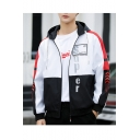 New Trendy Simple Letter SUPER Colorblock Print Long Sleeve Zip Placket Hooded Sports Fitted Jacket For Men