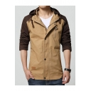Mens Fashion Colorblock Print Single Breasted Long Sleeve Fitted Casual Hooded Field Jacket