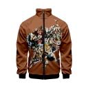 Hot Popular Comic Figure Pattern Stand Collar Long Sleeve Zip Up Brown Baseball Jacket