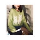 Ladies Lovely Kitty Print Round Neck Drop Sleeve Shaggy Sweater