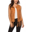 Hot Popular Women's Round Neck Fringe-Trimmed Plain Suede Short Vest