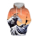 New Arrival Creative Fashion Wave Dog 3D Printed Long Sleeve Drawstring Pullover Unisex Hoodie
