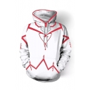 Cosplay Costume Loose Fit Casual White Drawstring Pullover Hoodie